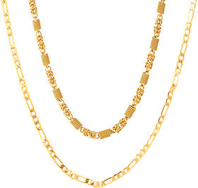 2 Brass Gold Plated Chain Combo for Men by Sparkling Jewellery