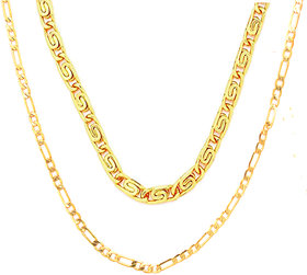 Sparkling Brass Gold Plated Sachin Chain and Fisher Gold Plated Chain for Men