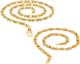 Sparkling Jewellery 20' inch Brass High Quality Chain Combo for Men