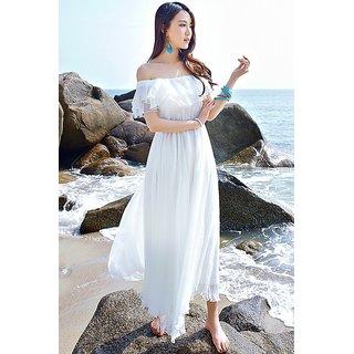 Code Yellow White Off shoulder Long dress