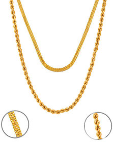 Sparkling 22' inch Flat Simple Chain and Rope Designed Alloy Chain Combo for Men