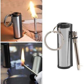 Flint Match Lighter Metal Outdoor Camping Hiking Emergency Fire Starter with Key Chain (Cylindrical body)