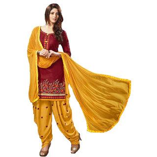 FKART Maroon Cottan Embroidered Salwar Suit Material(BDMAROON)