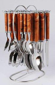 Elegant Viva Brown Stainless Steel, Plastic Cutlery Set  (Pack of 24)
