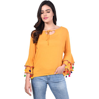 d7960e9d55550 Buy Raabta Fashion Mustard Rayon Top With bell Sleeves pom pom ...