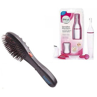 Style Maniac presents combo of Hair Brush Massager and Sensitive precision Touch Electric cordless Trimmer for Women with an amazing 22 hair styles booklet