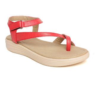 Vendoz Women Casual Red Sandals