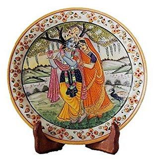 Radha Krishna Showpiece Plate With Stand