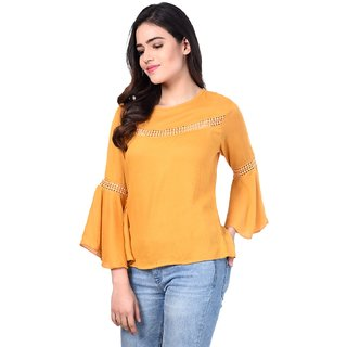 Rosella Mustered Cotton Bell Sleeve Top with Les