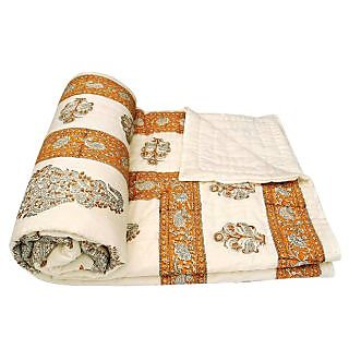 shoppingtara Silkworm Beautiful Printed Jaipuri Double Bed Quilt