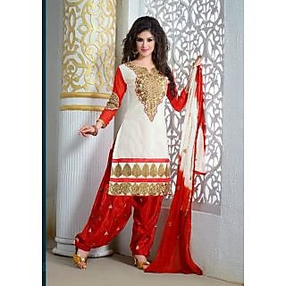 Silk Patiyala Salwar Suit Dress Material Red And Off White