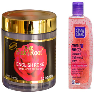 Pink Root English Rose Exfoliating Gel Scrub (100gm) with Clean  Clear Morning Energy Face Wash Brightening Berry (100ml) Pack of 2