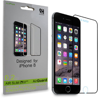 AirPlus (Set of 2) Tempered Glass for iPhone 8 - 2.5D Rounded Edge, 0.2mm Ultra-Thin HD Crystal Clear (Black Border)