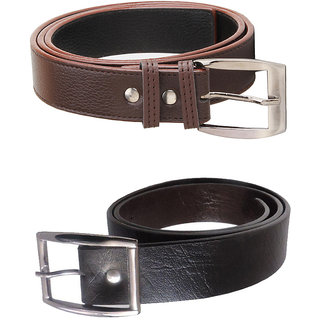 Home Angel Combo Of 2 Black and Brown Leather Belt For Men (Synthetic leather/Rexine)