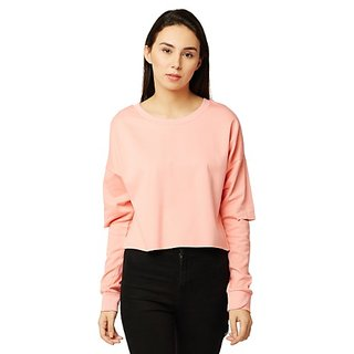 Women's Pink Round Neck Full Sleeve Solid Cut Out Sweatshirt
