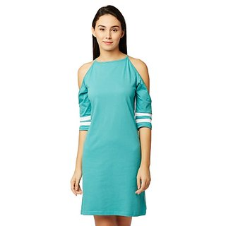 Women's Light Blue Round Neck Half Sleeves Cold Shoulder Shift Dress