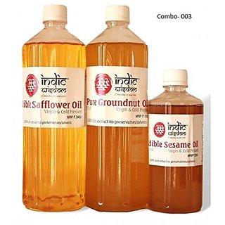 Indicwisdom Safflower OilGroundnut OilSesame Oil (Combo)