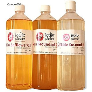 Combo 006 (1 ltre each Coconut Oil Groundnut Oil Safflower Oil)