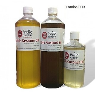 Combo 009 (1 ltr Mustard Oil1 ltr Sesame Oil500ml coconut oil)