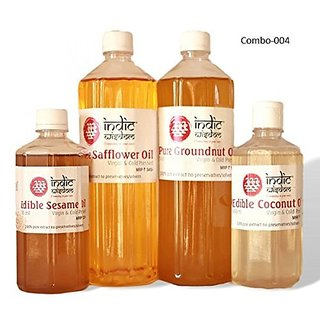 Combo 004 (1 litre Groundnut Oil1 litre Safflower Oil5000ml Sesame Oil500 ml Coconut Oil)