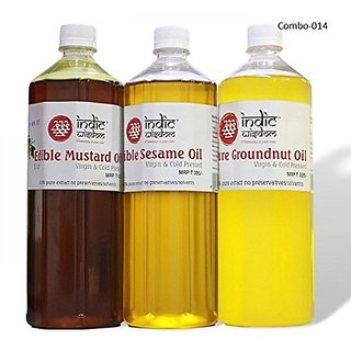 Combo 014-(1Ltr each mustardsesame and groundnut oil)