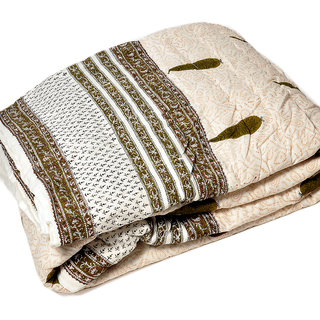 shoppingtara HandBlock Print WhiteBase Jaipuri Double Quilt