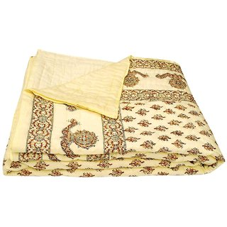 shoppingtara Silkworm Beautiful Printed Jaipuri Double Bed Quilt