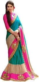 Laxminarayan Multicolor Crepe Embroidered Saree With Blouse