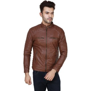 Garmadian Brown Pu Leather Jacket For Men