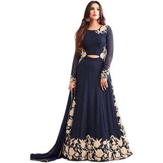 3dcb19918082 Ap Enterprise Women Georgette Anarkali Semi-Stitched Salwar Suit  (ERTY10636Blue Free Size)