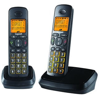 Gigaset A500 Duo Black cordless landline phone with caller id  speakerphone