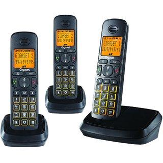 Gigaset A500 Trio Black cordless landline phone with caller id  speakerphone