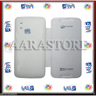 Aara Premium Flip Cover For Micromax Bolt A082 - White