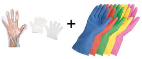 1 Pair REUSABLE Rubber Hand Gloves + 100 Pcs Disposable Transparent Clear Gloves