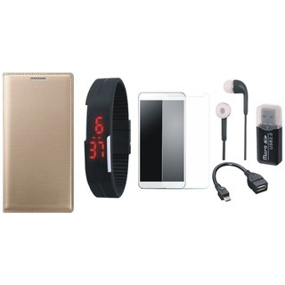 Lenovo K5s Premium Leather Cover with Memory Card Reader, Free Digital LED Watch, Tempered Glass, Earphones and OTG Cable