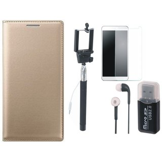 Lenovo K5s Premium Leather Cover with Memory Card Reader, Free Selfie Stick, Tempered Glass and Earphones