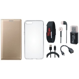 Lenovo K5s Premium Leather Cover with Memory Card Reader, Silicon Back Cover, Digital Watch, Earphones, OTG Cable and USB Cable