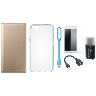 Lenovo K5s Premium Leather Cover with Memory Card Reader, Silicon Back Cover, Tempered Glass, USB LED Light and OTG Cable