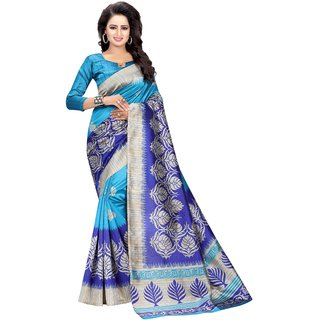 MAYSUR BLUE (ART SILK)NEW -INDIAN-DESIGNER-PARTY-WEAR-Peria AppareL 1 TIME