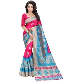 MAYSUR PINK (ART SILK)NEW -INDIAN-DESIGNER-PARTY-WEAR-Peria AppareL 1 TIME