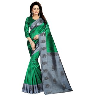 MAYURI GREEN (ART SILK)NEW -INDIAN-DESIGNER-PARTY-WEAR-Peria AppareL 1 TIME