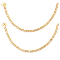 Golden Anklet With White Stone by Sparkling Jewellery