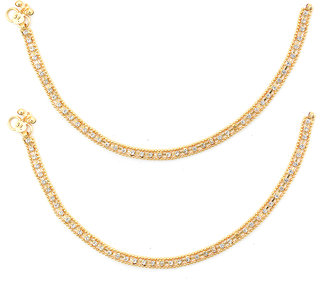 Sparkling Jewellery Gold Plated Gold Alloy Anklets For Women