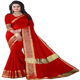 Rite Creation Mart Red Color Cotton Silk Printed Saree -RI364SZIGZAG-RED