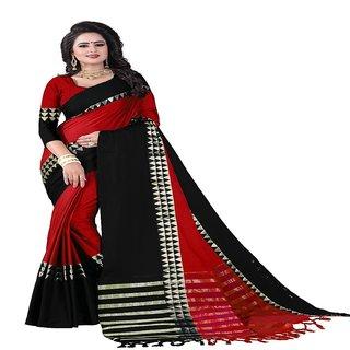 Rite Creation Mart Red Color Cotton Silk Printed Saree -RI370SAURA-T-1-RED-BLACK