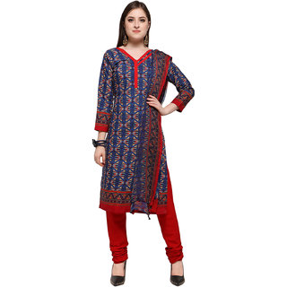 Swaron Women's Blue and Red Colored Printed Poly Cotton Unstitched Dress Material