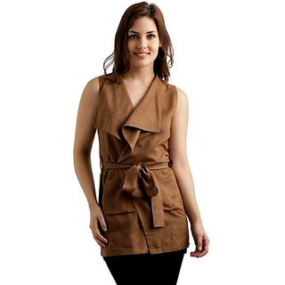 49564ce0bb Buy Miss Chase Women s Tan Brown Open Front Sleeveless Solid Belted Jacket  Online - Get 69% Off