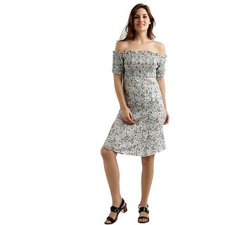 Miss Chase Women's Multicoloured Off-Shoulder Half Sleeve Mini Panelled Floral A-Line Dress