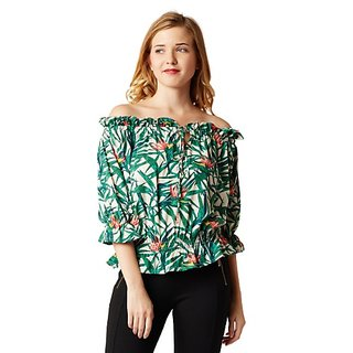 755216f655f0e Buy Miss Chase Women s Multicolored 3 4 Sleeve Printed Gathered Ruffled  Bardot Style Off Shoulder Top Online - Get 64% Off