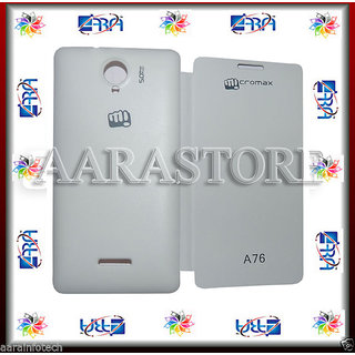 AARA Flip Covers Micromax FUN A76   White available at ShopClues for Rs.249